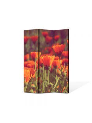 Paravan de Camera ArtDeco din 3 Panouri Peisaj Flori rosii 105 x 150 cm