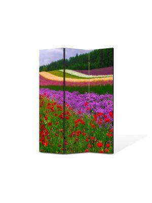 Paravan de Camera ArtDeco din 3 Panouri Peisaj Campii in Olanda 105 x 150 cm