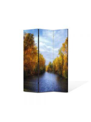 Paravan de Camera ArtDeco din 3 Panouri Peisaj Canal de toamna 105 x 150 cm