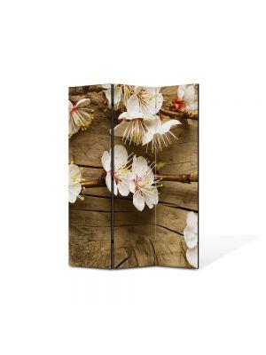 Paravan de Camera ArtDeco din 3 Panouri Peisaj Flori albicioase 105 x 150 cm