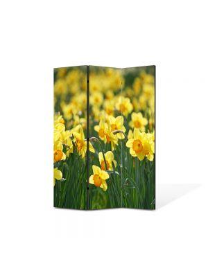 Paravan de Camera ArtDeco din 3 Panouri Peisaj Floricele galbene 105 x 150 cm