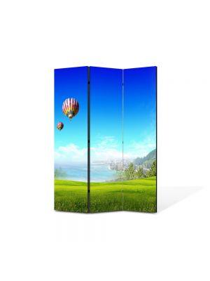 Paravan de Camera ArtDeco din 3 Panouri Peisaj Balon 105 x 150 cm