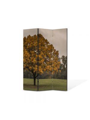 Paravan de Camera ArtDeco din 3 Panouri Peisaj Copac la amurg 105 x 150 cm