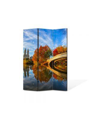 Paravan de Camera ArtDeco din 3 Panouri Peisaj Pod peste toamna 105 x 150 cm