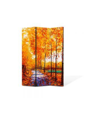 Paravan de Camera ArtDeco din 3 Panouri Peisaj Drum printre copaci 105 x 150 cm