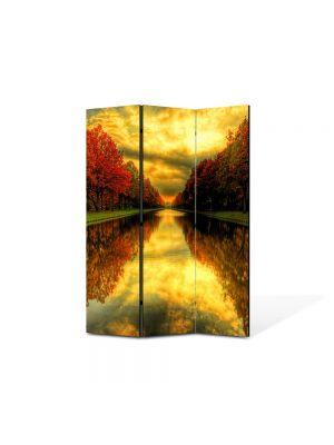 Paravan de Camera ArtDeco din 3 Panouri Peisaj Capat de perspectiva 105 x 150 cm