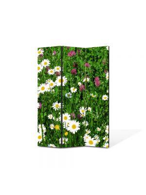 Paravan de Camera ArtDeco din 3 Panouri Peisaj Flori diverse 105 x 150 cm