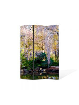 Paravan de Camera ArtDeco din 3 Panouri Peisaj Gradina botanica 105 x 150 cm