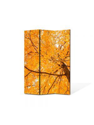 Paravan de Camera ArtDeco din 3 Panouri Peisaj Coroana galbena 105 x 150 cm