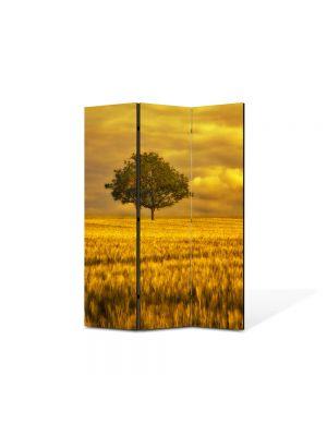 Paravan de Camera ArtDeco din 3 Panouri Peisaj Campie portocalie 105 x 150 cm