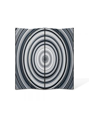 Paravan de Camera ArtDeco din 4 Panouri Abstract Decorativ Cercuri B&W 140 x 150 cm