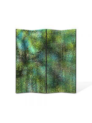 Paravan de Camera ArtDeco din 4 Panouri Abstract Decorativ Verde scurs 140 x 150 cm