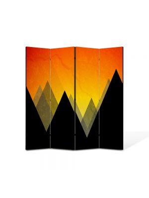 Paravan de Camera ArtDeco din 4 Panouri Abstract Decorativ Munti 140 x 150 cm