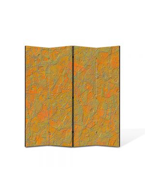 Paravan de Camera ArtDeco din 4 Panouri Abstract Decorativ Textura portocalie 140 x 150 cm