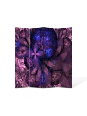 Paravan de Camera ArtDeco din 4 Panouri Abstract Decorativ Flori violet 140 x 150 cm