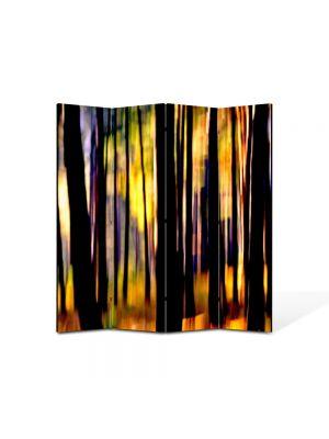 Paravan de Camera ArtDeco din 4 Panouri Abstract Decorativ In padure 140 x 150 cm