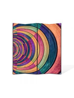 Paravan de Camera ArtDeco din 4 Panouri Abstract Decorativ Gemulete de sticla colorata 140 x 150 cm
