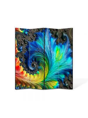 Paravan de Camera ArtDeco din 4 Panouri Abstract Decorativ Pana colorata 140 x 150 cm