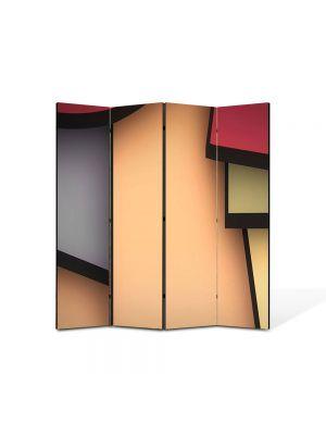 Paravan de Camera ArtDeco din 4 Panouri Abstract Decorativ Desen 140 x 150 cm