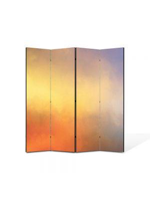 Paravan de Camera ArtDeco din 4 Panouri Abstract Decorativ Apus in cer 140 x 150 cm