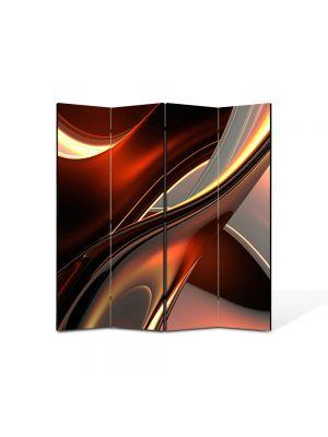 Paravan de Camera ArtDeco din 4 Panouri Abstract Decorativ Inele de plastic 140 x 150 cm