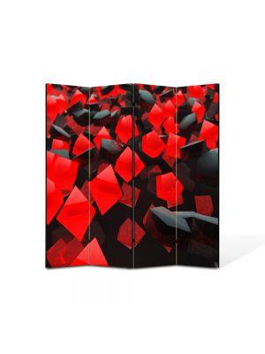 Paravan de Camera ArtDeco din 4 Panouri Abstract Decorativ Cuburi rosi si negre 140 x 150 cm