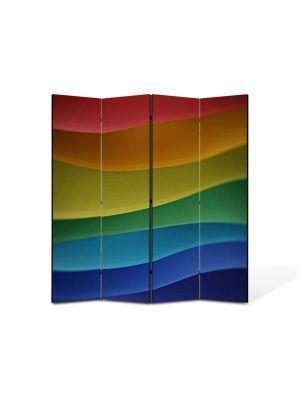 Paravan de Camera ArtDeco din 4 Panouri Abstract Decorativ Dealuri multicolore 140 x 150 cm