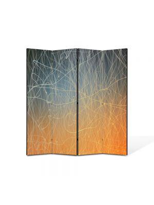 Paravan de Camera ArtDeco din 4 Panouri Abstract Decorativ Tabla zgariata 140 x 150 cm