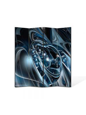 Paravan de Camera ArtDeco din 4 Panouri Abstract Decorativ Metal topit 140 x 150 cm