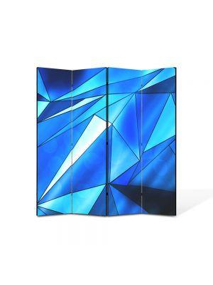 Paravan de Camera ArtDeco din 4 Panouri Abstract Decorativ Triunghiuri albastre 140 x 150 cm