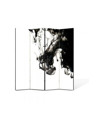 Paravan de Camera ArtDeco din 4 Panouri Abstract Decorativ Fum B&W 140 x 150 cm