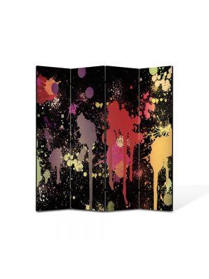 Paravan de Camera ArtDeco din 4 Panouri Abstract Decorativ Pete de vopsea 140 x 150 cm