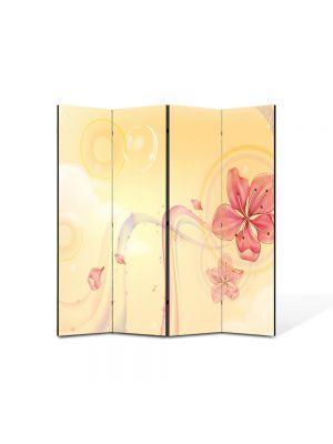 Paravan de Camera ArtDeco din 4 Panouri Abstract Decorativ Floare 140 x 150 cm