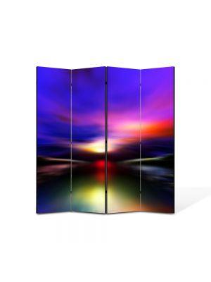Paravan de Camera ArtDeco din 4 Panouri Abstract Decorativ Aurora Boreala 140 x 150 cm