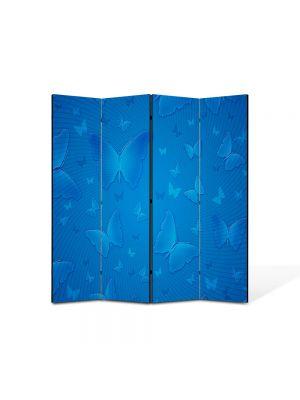 Paravan de Camera ArtDeco din 4 Panouri Abstract Decorativ Fluturi albastri 140 x 150 cm
