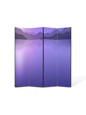 Paravan de Camera ArtDeco din 4 Panouri Abstract Decorativ Peisaj Violet 140 x 150 cm