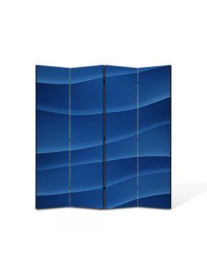 Paravan de Camera ArtDeco din 4 Panouri Abstract Decorativ Dealuri albastre 140 x 150 cm