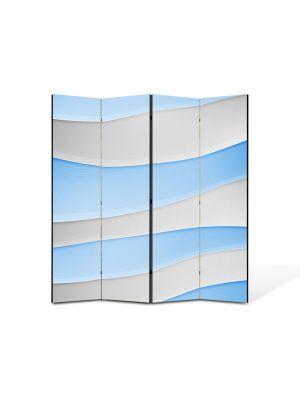 Paravan de Camera ArtDeco din 4 Panouri Abstract Decorativ Dealuri albe si Bleu 140 x 150 cm