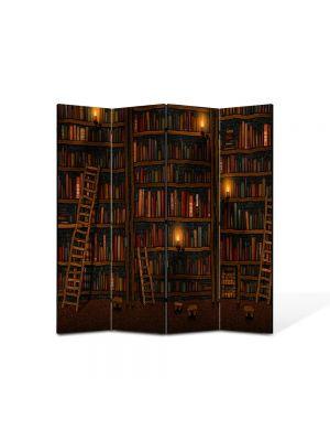 Paravan de Camera ArtDeco din 4 Panouri Abstract Decorativ Biblioteca 140 x 150 cm