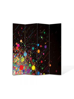 Paravan de Camera ArtDeco din 4 Panouri Abstract Decorativ Stropi de culoare 140 x 150 cm