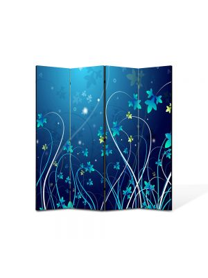 Paravan de Camera ArtDeco din 4 Panouri Abstract Decorativ Plante abstracte 140 x 150 cm