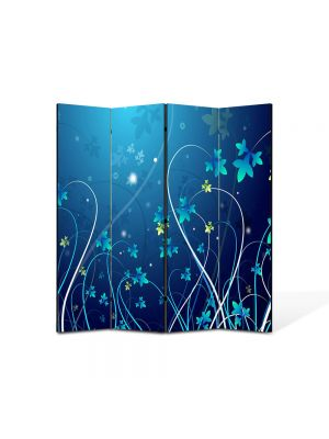 Paravan de Camera ArtDeco din 4 Panouri Abstract Decorativ Flori 140 x 150 cm