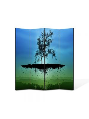 Paravan de Camera ArtDeco din 4 Panouri Abstract Decorativ Copac plutitor 140 x 150 cm