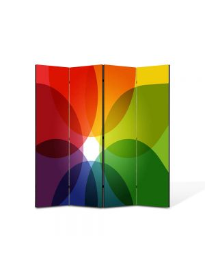 Paravan de Camera ArtDeco din 4 Panouri Abstract Decorativ Nuante de culoare 140 x 150 cm