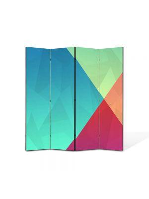 Paravan de Camera ArtDeco din 4 Panouri Abstract Decorativ Patru culori 140 x 150 cm