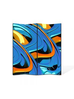 Paravan de Camera ArtDeco din 4 Panouri Abstract Decorativ Albastru si portocaliu 140 x 150 cm