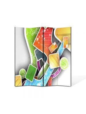 Paravan de Camera ArtDeco din 4 Panouri Abstract Decorativ Asezare artistica 140 x 150 cm