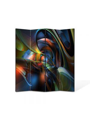 Paravan de Camera ArtDeco din 4 Panouri Abstract Decorativ Nuante 140 x 150 cm
