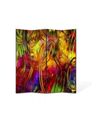 Paravan de Camera ArtDeco din 4 Panouri Abstract Decorativ Colorat 140 x 150 cm
