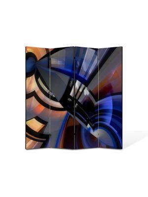 Paravan de Camera ArtDeco din 4 Panouri Abstract Decorativ Robot 140 x 150 cm